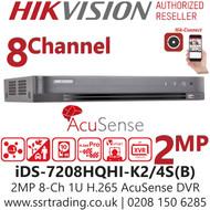 Hikvision 8 Channel 2MP AcuSense AoC (Audio via coaxial cable) H.265 Compression 2 SATA 8Ch DVR iDS-7208HQHI-K2/4S(B)