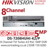 Hikvision 8 Channel 8MP PoC (Power over coaxial cable) H.265 Compression 2 SATA 8Ch DVR DS-7208HUHI-K2/P