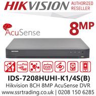 Hikvision 8 Channel 8MP AcuSense AoC (Audio via coaxial cable) H.265 Comprssion 1 SATA 8Ch DVR IDS-7208HUHI-K1/4S(B)