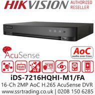 Hikvision 16 Channel 2MP AcuSense AoC (Audio via coaxial cable) H.265 Compression 1 SATA 16Ch DVR iDS-7216HQHI-M1/FA