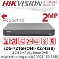 Hikvision 16 Channel 2MP AcuSense AoC (Audio via coaxial cable) H.265 Compression 2 SATA 16Ch DVR iDS-7216HQHI-K2/4S(B)