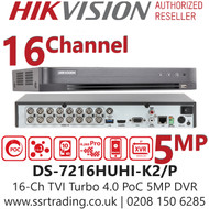 Hikvision 16 Channel 5MP PoC (Power over coaxial cable) H.265 Compression 2 SATA 16Ch DVR DS-7216HUHI-K2/P