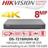 Hikvision 16 Channel 8MP 4K AoC (Audio via coaxial cable) H.265 Compression 2 SATA 16Ch DVR DS-7216HUHI-K2(S)