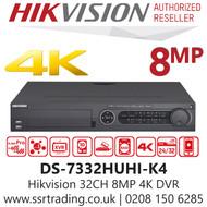 Hikvision 32 Channel 8MP HDTVI/AHD/CVI/CVBS/IP H.265 Compression 4 SATA 32Ch DVR DS-7332HUHI-K4