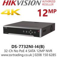 Hikvision 32 Channel 12MP No PoE H.265 Compression 4 SATA 4k 32Ch NVR  DS-7732NI-I4(B)