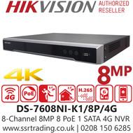 Hikvision 8 Channel 8MP 8 PoE 4G SIM card slot H.265 Compression 1 SATA 8Ch 4G NVR DS-7608NI-K1/8P/4G