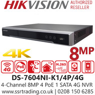 Hikvision 4 Channel 8MP 4 PoE H.265 Compression 1 SATA 4G SIM card 4Ch 4G NVR DS-7604NI-K1/4P/4G