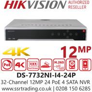 Hikvision 32 Channel 12MP 4K 24 PoE H.265 Compression 4 SATA 32Ch NVR DS-7732NI-I4/24P