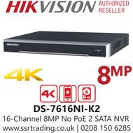Hikvision 16 Channel 8MP No PoE Port H.265 Compression 2 SATA 16Ch 4K NVR DS-7616NI-K2