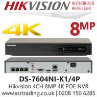 Hikvision 4 Channel 8MP 4 PoE H.265 Comression 1 SATA 4Ch 4K NVR DS-7604NI-K1/4P