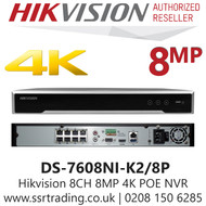 Hikvision 8 Channel 8MP 8 PoE H.265 Compression 2 SATA 4K 4Ch NVR DS-7608NI-K2/8P