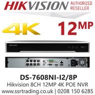 Hikvision 8 Channel 12MP 8 PoE H.265 Compression 2 SATA 4K 8Ch NVR DS-7608NI-I2/8P
