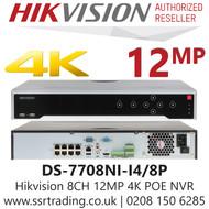 Hikvision 8 Channel 12MP 8 PoE H.265 Compression 4 SATA 8Ch 4K NVR DS-7708NI-I4/8P