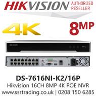 Hikvision 16 Channel 8MP 16 PoE H.265 Compression 2 SATA 16Ch 4K NVR DS-7616NI-K2/16P