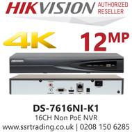 Hikvision 16 Channel 8MP No PoE H.265 Compression 1 SATA 16Ch 4K NVR - DS-7616NI-K1(B)