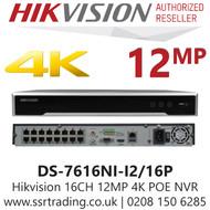 Hikvision 16 Channel 12MP 16 PoE H.265 Compression 2 SATA 16Ch 4K NVR DS-7616NI-I2/16P