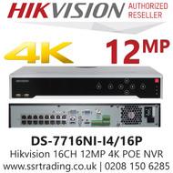 Hikvision 16 Channel 12MP 16 PoE H.265 Compression 4 SATA 16Ch 4K NVR DS-7716NI-I4/16P