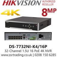 Hikvision 32 Channel 8MP 16 PoE H.265 Compression 32Ch 4K NVR DS-7732NI-K4/16P