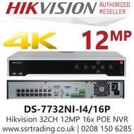 Hikvision 32 Channel 12MP 16 PoE H.265 Compression 4 SATA 32 Ch 4K NVR DS-7732NI-I4/16P