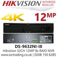 Hikvision 32 Channel 12MP No PoE H.265 Compression 8 SATA 2 HDMI 32Ch 4K NVR DS-9632NI-I8