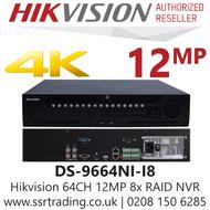 Hikvision 64 Channel 12MP No PoE H.265 Compression 8 SATA 2 HDMI 64Ch 4K NVR DS-9664NI-I8