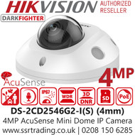 Hikvision 4MP Outdoor Mini Dome Network Camera - Fixed Lens - Acusense - DarkFighter - Built-In Microphone - 30m IR Range - DS-2CD2546G2-I(S)