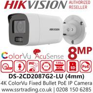 Hikvision 8MP 4mm Lens ColorVu AcuSense Audio IP PoE Bullet Camera DS-2CD2087G2-LU