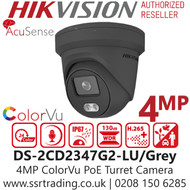 Hikvision 4MP ColorVu Fixed Lens Outdoor Network PoE Turret Grey Camera - AcuSense - Built in MIC - 30m White Light Range - DS-2CD2347G2-LU/Grey (2.8mm)