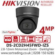 Hikvision 4MP DarkFighter Varifocal Lens Outdoor Network PoE Turret Grey Camera - 30m IR Range - vandal proof (IK10) DS-2CD2H45FWD-IZS(2.8-12mm)/Grey
