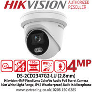 Hikvision 4MP ColorVu Fixed Lens Outdoor Network PoE Turret IP Camera - AcuSense - Built in MIC - 30m White Light Range DS-2CD2347G2-LU (2.8mm)