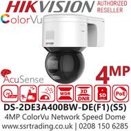 Hikvision 4MP AcuSense ColorVu Outdoor PT Network PoE Camera - 4mm Lens -  30m White light range - 24/7 Full Color Imaging - DS-2DE3A400BW-DE(F1)(S5)