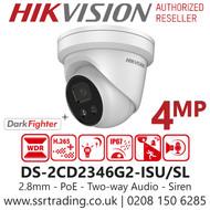 Hikvision 4MP AcuSense Strobe Light & Audible Warning Network Turret Camera - 2.8mm Lens - Built in MIC & Speaker - 30m IR - DS-2CD2346G2-ISU/SL