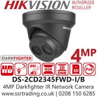 Hikvision 4MP DarkFighter Outdoor Black Turret Network PoE Camera - 2.8mm Lens - 30m IR Range - DS-2CD2345FWD-I/Black