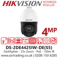 Hikvision 4MP 25 x Optical Zoom DarkFighter IR Network PoE Speed Dome PTZ Camera - 100 m IR Distance - Face capture - DS-2DE4425IW-DE(S5)