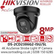 Hikvision 8MP 4K AcuSense Strobe Light & Audible Warning Black Turret IP PoE Camera - 2.8mm Lens - 30m IR - DS-2CD2386G2-ISU/SL/B