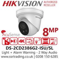 Hikvision 8MP 4K AcuSense Strobe Light & Audible Warning Turret IP PoE Camera - 2.8mm Lens - 30m IR - DS-2CD2386G2-ISU/SL