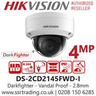 Hikvision 4MP 2.8mm IP PoE Darkfighter Vandal Dome Network Camera - 30m IR distance - DS-2CD2145FWD-I