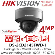 Hikvision 4MP 2.8mm Lens IP PoE Darkfighter Vandal Dome Network Camera in Grey - 30m IR distance - DS-2CD2145FWD-I/Grey