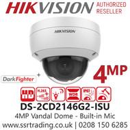 Hikvision 4MP 2.8mm AcuSense Darkfighter Indoor IP PoE Vandal Dome Camera Built-in Mic - DS-2CD2146G2-ISU