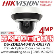 Hikvision 4MP Mini PTZ IP PoE Camera 4x Optical Zoom - Darkfighter - Built-in Micphone - Support Wi-Fi - 20m IR Range - DS-2DE2A404IW-DE3/W