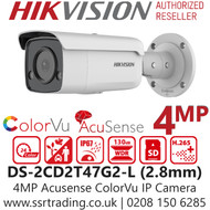 Hikvision 4MP IP PoE  2.8mm Lens AcuSense ColorVu Bullet Camera DS-2CD2T47G2-L