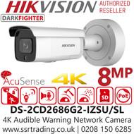 Hikvision 8MP 4K IP PoE 2.8-12mm Lens AcuSense Audible Motorized Bullet Camera DS-2CD2686G2-IZSU/SL