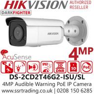 Hikvision 4MP IP PoE 2.8mm AcuSense Strobe Audible Warning  Bullet Camera DS-2CD2T46G2-ISU/SL