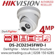 Hikvision 4MP 2.8mm Lens IP PoE Darkfighter 30m IR Distance EXIR Turret Network Camera DS-2CD2345FWD-I
