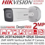 Hikvision 2MP IP PoE 8-32mm Lens Motorised DeepinViewe License Plate Recognition 100m IR Darkfighter Network Bullet ANPR Camera DS-2CD7A26G0/P-IZS (8-32mm)