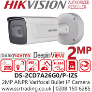 Hikvision 2MP IP PoE 2.8-12mm Motorised DeepinView License Plate Recognition 50m IR Range Darkfighter Network Bullet ANPR Camera DS-2CD7A26G0/P-IZS (2.8-12mm)