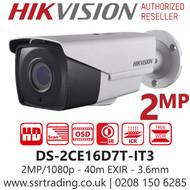 Hikvision 2MP 3.6mm Lens 40m IR Range EIXR Analog Bullet Camera - DS-2CE16D7T-IT3