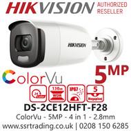 Hikvision 5MP 2.8mm Lens ColorVu 40m White Light Range Bullet Camera DS-2CE12HFT-F28