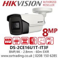 Hikvision 8MP 2.8mm Lens 60m IR Range EXIR Bullet Camera DS-2CE16U1T-IT3F