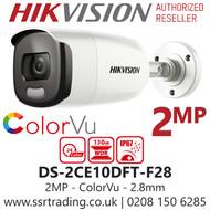 Hikvision 2MP 2.8mm Lens ColorVu 20m White Light Range Bullet Camera DS-2CE10DFT-F28